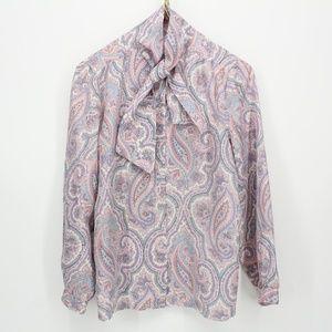 Vintage Pastel Paisley Tie Collar Blouse